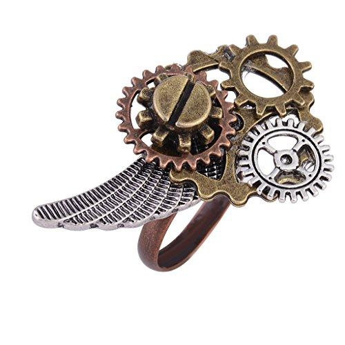 Gazechimp Steampunk Uhr Teil Zahnräder Ring für Herren und Frauen Mode Schmuck Geschenk - Bronze 9#