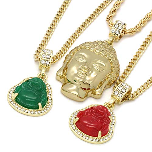 6 pcs Bundle Set 14k Gold Plated Hip Hop Fully Cz Buddha Chain Pendants Set
