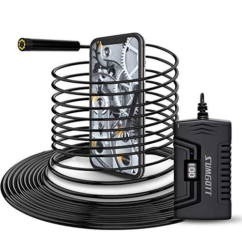 Endoscopio 10M, SUMGOTT WiFi Boroscopio Cámara de Inspección, 2.0 Megapíxeles Pixeles 1080P HD 2600mAh Batería, 8.0mm Impermeable Camara Endoscopica para iOS , Android, iPhone Smartphone/Tableta
