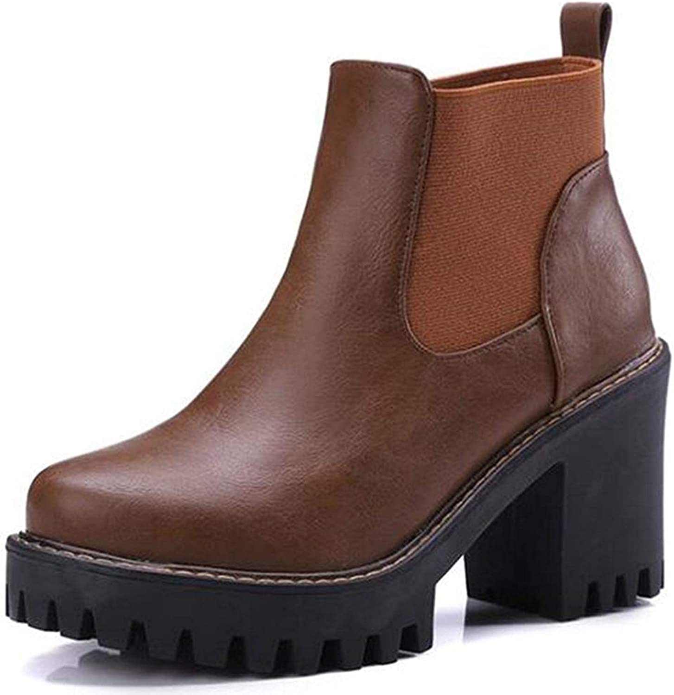 Lelehwhge Women's Elegant Elastic Round Toe Lug Sole Chelsea Boots Block High Heel Platform Ankle Boots White 8 M US