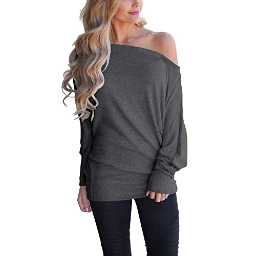 1ee7b9b2b2150e INFITTY Women s Off Shoulder Loose Pullover Sweater Batwing Sleeve Knit  Jumper Oversized Tunics Top