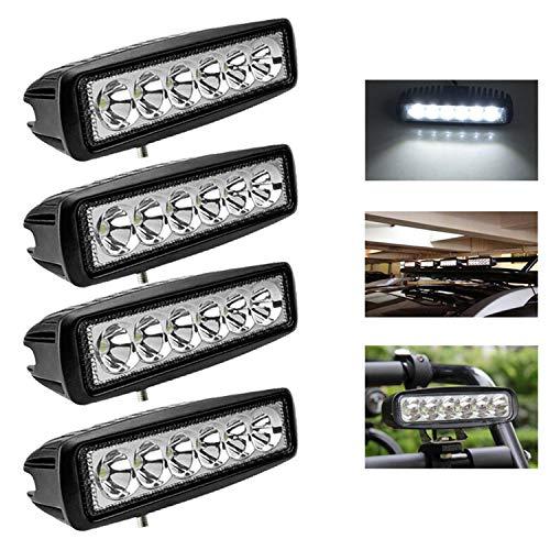 Hengda 4x18w LED Arbeitsscheinwerfer Rechteckig IP67 Wasserdicht 1800 LM,10-30V DC,6500K LED Zusatzscheinwerfer für SUV, Truck, Traktor oder schweres Gerät