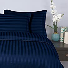 Elegant Comfort 1500 Thread Count -Damask Stripes- Egyptian Quality Luxury Silky Soft Wrinkle & Fade Resistant 3-Piece Duvet Cover Set, Full/Queen, Navy Blue