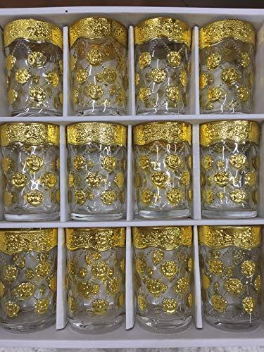 SL 12 Vasos de Cristal para Té marroquí Multicolor N2