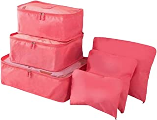 Travel Cubes Organiser- Travelling Accessories & Storage Bags - Organize Gear, Gadgets, Clothes, Underwear, Toiletries, Luggage - Set of 6 - Watermelon -Mesh - Carry On - Women, Men, Family - Packing Organizers