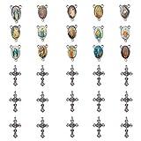 PandaHall Elite & reg Tibetischen Stil Legierung Kruzifix Kreuz Anhänger, mit Oval Antik Silber-Legierung Links, Antik Silber, 43x26x3.5mm, Loch: 2mm