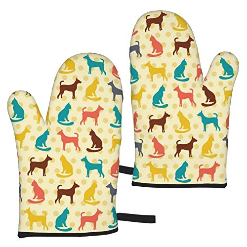 XCNGG Animal Pattern Cat and Dog Oven Mitts Fashion Soft Non-Slip Heat Resistant Safe Cooking Baking Grilling BBQ Party Kitchen Microwave Oven Funny Home
