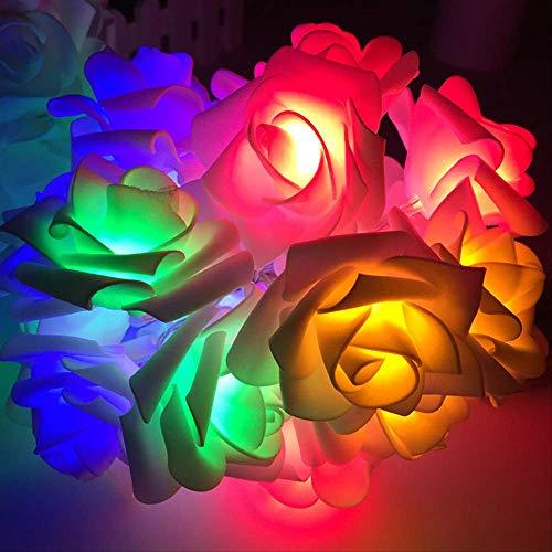 CFLFDC Lichtketting, roze, klein, nachtlampje, LED, kleurrijk licht, snoer, batterij, 10 m, 100 licht, vier kleuren