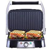 NETTA - Grill multifonction, plancha, presse à paninis, appareil à sandwichs. 1500W, plaques anti-adhésives, intensité réglable. Couleur argent.