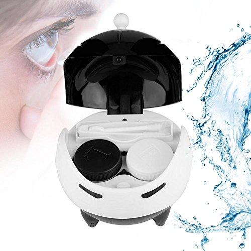 Ultraschallreiniger für Kontaktlinse, Automatische Kontaktlinse Washer Cleaner Fall Kontaktlinsenbehälter Nette Mashroom, USB Charge(Weiß)