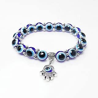 Blue Beads Evil Eyes Bracelet Hamsa Hand of Fatima for Girl Women Lucky Charm Stretch Bracelets Lucky Charm