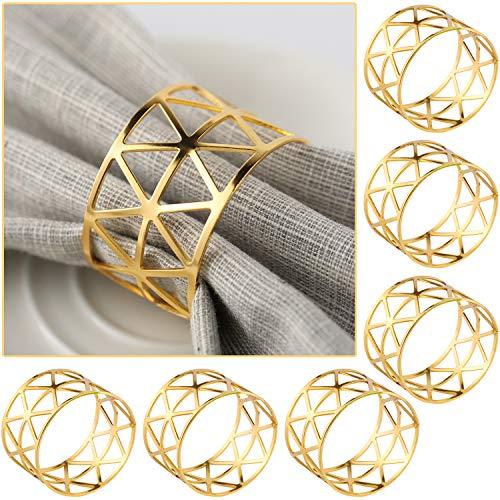 COCHIE 6 Pièces Rond de Serviettes de Table Or, Porte-Serviettes Creux Triangle Doré pour Les Fournitures de Dîner de Fête d'anniversaire de Mariage
