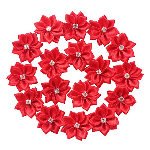 YAKA 60pcs 1.1inch Satin Ribbon Flowers Bows Rose W/Rhinestone Appliques Craft Wedding Christmas Gift Accessories Ornament Red