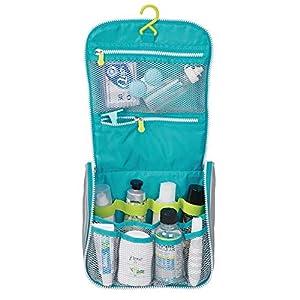 mDesign Neceser de Viaje – Bolsa de Aseo de poliéster y plástico para Colgar – Neceser para Productos de Belleza y Aseo, con Cremallera y múltiples Compartimentos – Gris/Turquesa/Blanco