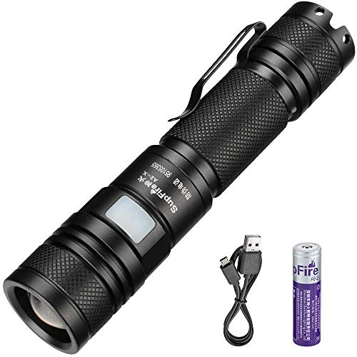 Supfire Flashlight Zoomable,Tactical Flashlight 700 High Lumens Cree Led Rechargeable Flashlight Waterproof Led Torch for Camping,Hiking,Outdoors-18650 Battery and USB Included