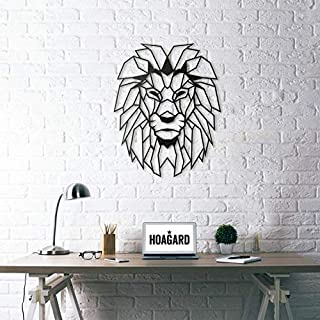 Lasaani Lion ACP Wall Plaque Painted Cutout Stickable Home Decor Wall Art (Glossy Black), WP044