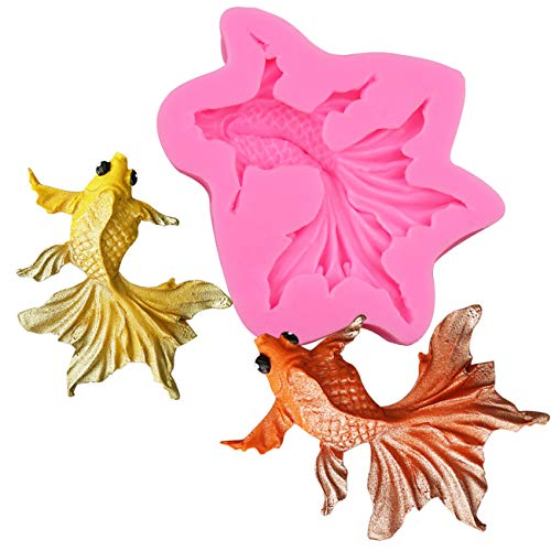 BUSOHA Goldfish Fondant Silicone Mold - 3D Realistic Shaped Carp Fish Sugar Craft Silicone Mold for Cake/Cupcake Decorating, Gum Paste, Polymer Clay, Soap, Candy Mold For Boys Girls Birthday Baby Show