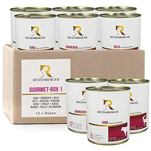 Ritzenberger Hundefutter Gourmet-Box #1 | 12 x 800g Dosen (9,6kg) | Nassfutter vom Metzgermeister