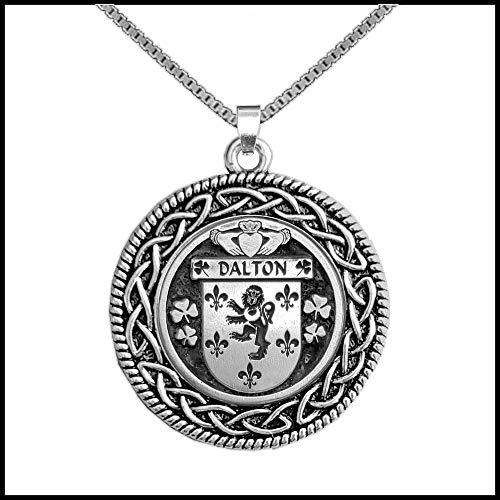Dalton Irish Coat of Arms Celtic Interlace Disk Pendant