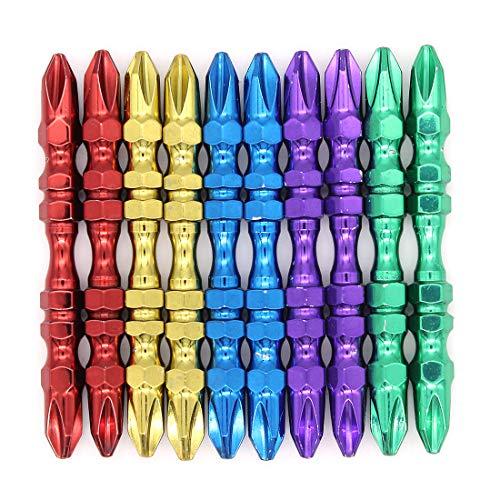 DingGreat 10 Stks PH2 Magnetische Schroevendraaier Bits, 1/4 Inch Schacht 65 mm Multi-Color Philip Cross Hoofd Dubbele Einde Elektrische Schroevendraaier Bit Set