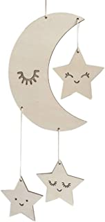 Nordic Style Wooden Handmade Craft - Decorative Sleeping Moon and Stars Cloud Pendant for Home Bedroom/Party/Wedding/Birthday/Nursery/Cradle/Baby Shower/Photoshoot Hanging Decoration (moon star)