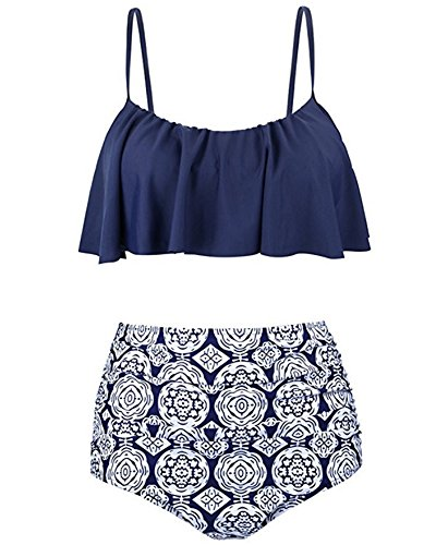 Avondii Damen Retro Badeanzug High Waist Volant Bikini Set (2XL, B-Blau)
