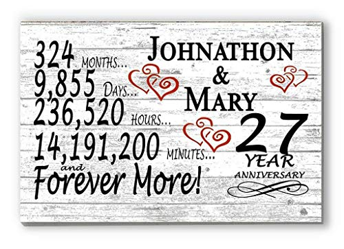 Broad Bay Personalized 27 Year Anniversary Sign