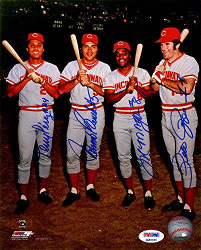 Pete Rose, Johnny Bench, Joe Morgan and Tony Perez Cincinnati Reds MLB 8x10 Photograph Big Red Machine