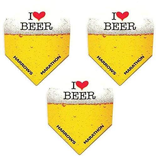 Art Attack 9 Pack Harrows Marathon I Love Heart Beer & Darts 100 Micron Extra Strong Dart Flights