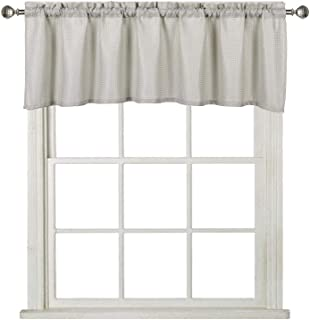 Home Queen Waffle Curtain Valance Window Treatment for Kitchen Bathroom Window, Straight Window Valance, Set of 1, 60 X 16 Inch, Solid Taupe