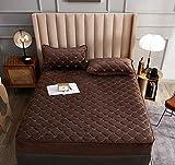 XLMHZP Hochwertiges Spannbettlaken,Crystal Fleece Matratze Spannbetttuch für Bett Stickerei Schutzhülle Gesteppte Dicke weiche Polster Queen King Size Tagesdecke-D_220x220cm + 30cm