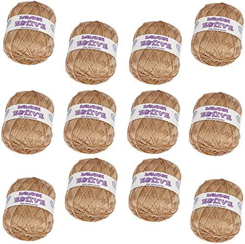 Hilo de Lana acrilica para Tejer Crochet Ganchillo o Punto Torrijo ESTIVE 100g, Ovillo de Lana Super Suave para Tejer   12 unidades, COLOR 2211-BEIGE