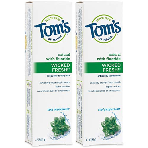 Tom's of Maine Natural Wicked Fresh! Fluoride-Toothpaste, Cool Peppermint, 4.7 oz. 2-Pack
