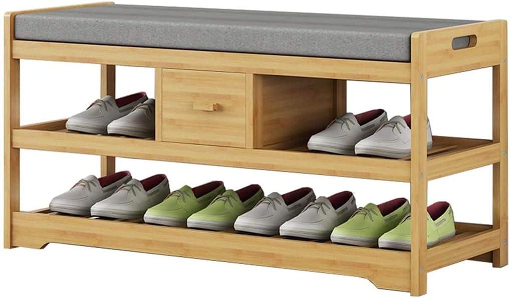 YUANKEXIANG Zapatillas De Zapatos Compartamento De Banco De Zapato De Madera para Entradas Zapaillas De Zapaciones De Entradas, Paso De Almacenamiento De Almacenamiento