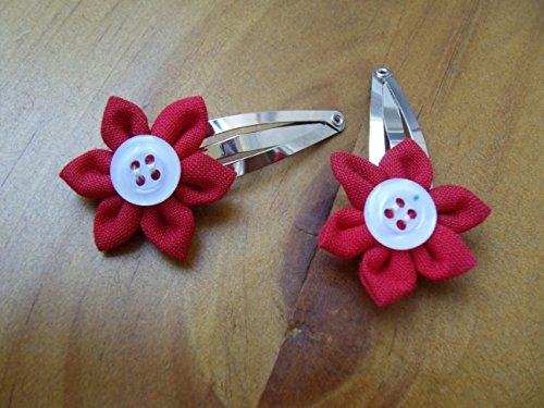 Haarspangen Haarspangenset Blumen Blümchen Kanzashi handmade Blumen fürs Haar Set rot