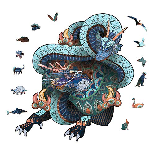 Wooden Jigsaw Flying Dragon 3D Puzzle Irregular Animal Shape Jigsaw Puzzles Pieces Suitable for Adults Teenagers Kids Unique Puzzle Perfect Match Imagination Gift Toys