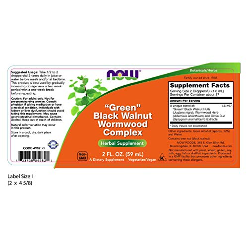 Now Foods Green Black Walnut Wormwood Complex, 59 ml