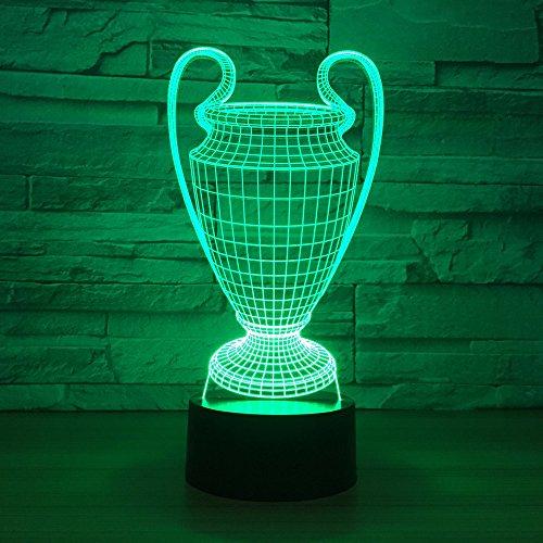 3D Illusion Nachtlampe,Fußballpokal Optische Lampen 7 Farben Ändern Touch Control Led Schreibtisch Tisch Nachtlicht Für Kinder Familie Ferienhaus Dekoration Geburtstag Valentinstag