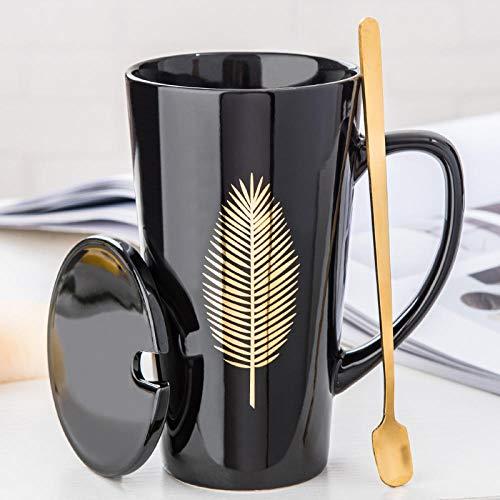 Tee- und Kaffeetassen zum Aufbrühen Keramiktasse mit Deckel Löffel Tasse Kaffee Tasse Paar Familie