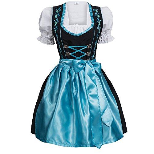 Mufimex Damen Dirndl Kleid Dirndlkleid Trachtenkleid Midi Schwarz Hellblau Hakenverschluß 46