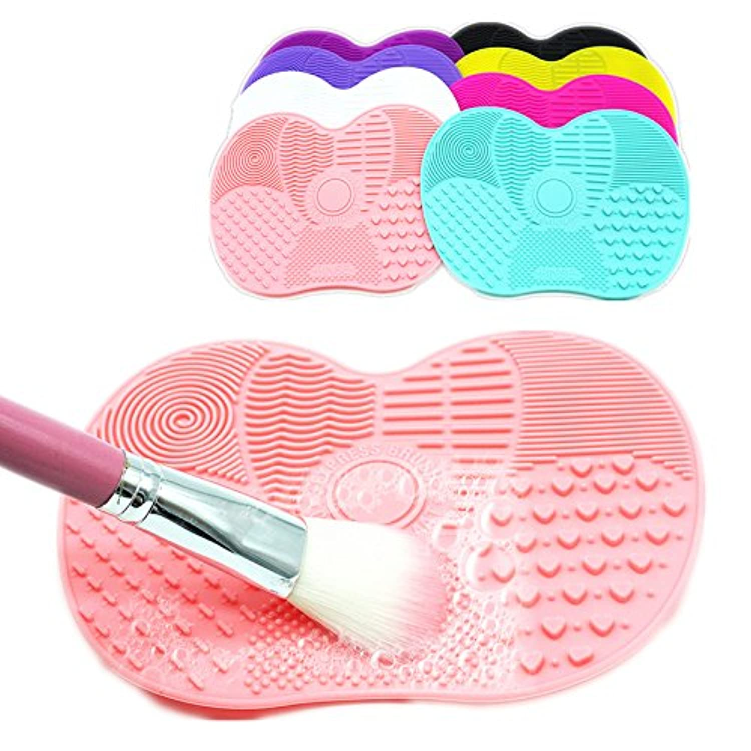 (Black) Silicone Brush Cleaner Mat Washing Tools for Cosmetic Make up Eyebrow Brushes Cleaning Pad Scrubber Board Makeup Cleaner