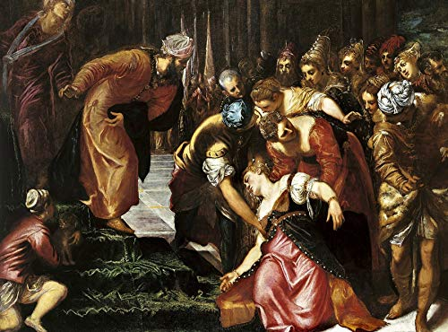 """Jacopo Tintoretto Esther Before Ahasuerus 1546-1547 Royal Collection Trust UK Windsor Castle 24"""" x 18"""" Fine Art Giclee Canvas Print (Unframed) Reproduction"""