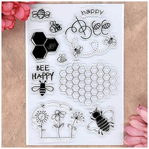 KWELLAM BEE HAPPY Flowers Honeycomb Clear Stamps for Card Making Decoration and DIY Scrapbooking