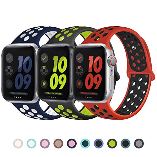 JuQBanke Sport Band 3 Pack Compatible for Apple Watch Band 42mm 44mm, Soft Silicone Sport Replacement Wristband Compatible with iWatch Series 1/2/3/4/5 M/L Blue White/Volt/Red Black