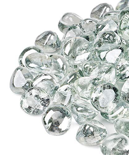 Gaspro Feuerglas-Diamanten 4,5 kg – klarer Glanz 2,5 cm reflektierendes Glas für Feuerstelle und Landschaftsbau