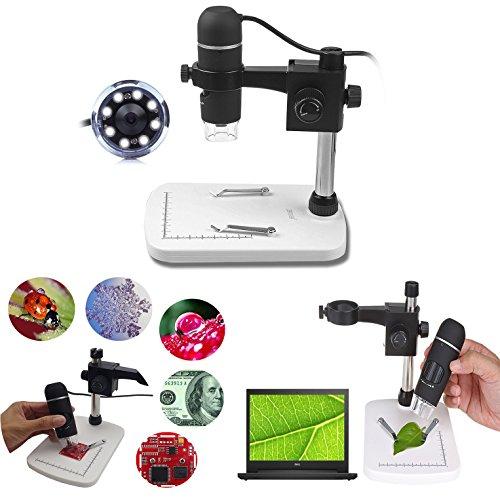 Itian 5 Megapíxeles USB Microscopio Digital Microscopio con Video 20x - 300x de Aumento Cámara con 8 LED, Soporte, Software para Windows XP / Vista / Win7 / Mac OS X