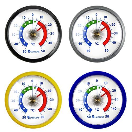 Lantelme 7014 Koelkastthermometer, 4 stuks, zelfklevend, analoge ijsvak, koelkist, vriezer, thermometer