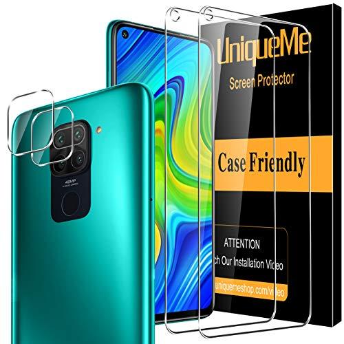 UniqueMe [4 Pack] Xiaomi Redmi Note 9 [2 Pack] Protector de Pantalla y [2 Pack] Protector de Lente de cámara, [Dureza 9H][Sin Burbujas] HD Cristal Vidrio Templado