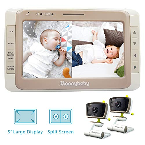 Moonybaby Split 50 Baby Monitor with 2 Cameras and Audio, Large Display with Wide View, Screen Split, Auto Night Vision and Zoom, Sound Activated, Temperature Alert, 2-Way Talk, Range up to 1000ft