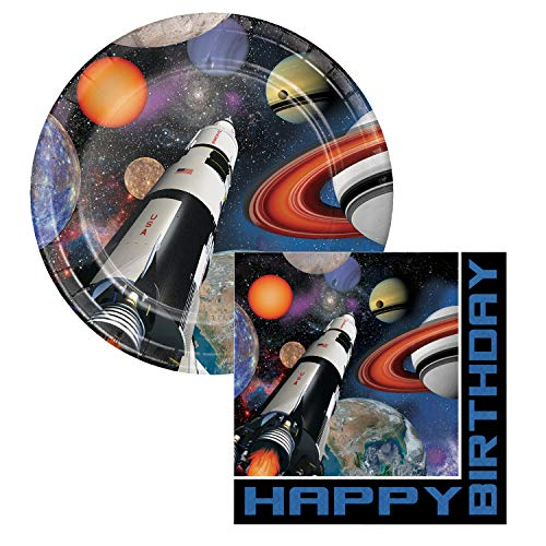 Space Blast Happy Birthday Lunch Plates & Napkins Party Kit for 8